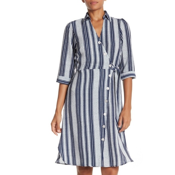 Superfoxx Dresses & Skirts - Superfoxx Striped Wrap Shirt Dress Navy & White